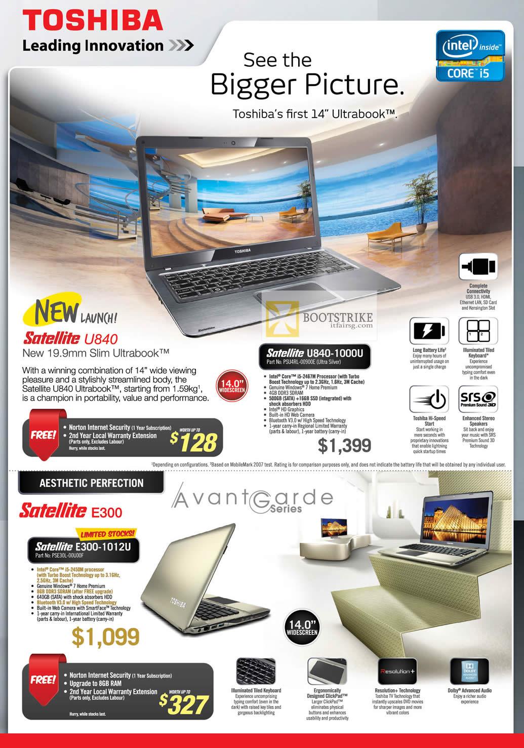 IT SHOW 2012 price list image brochure of Toshiba Notebooks U840 Ultrabook U840-1000U PSU4RL-00900E, E300-1012U PSE30L-00U00F
