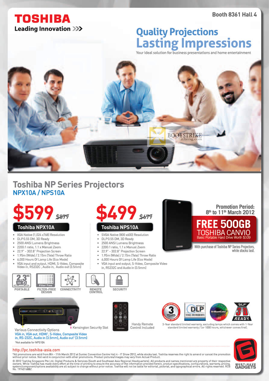 IT SHOW 2012 price list image brochure of Toshiba Projectors NPX10A, NPS10A