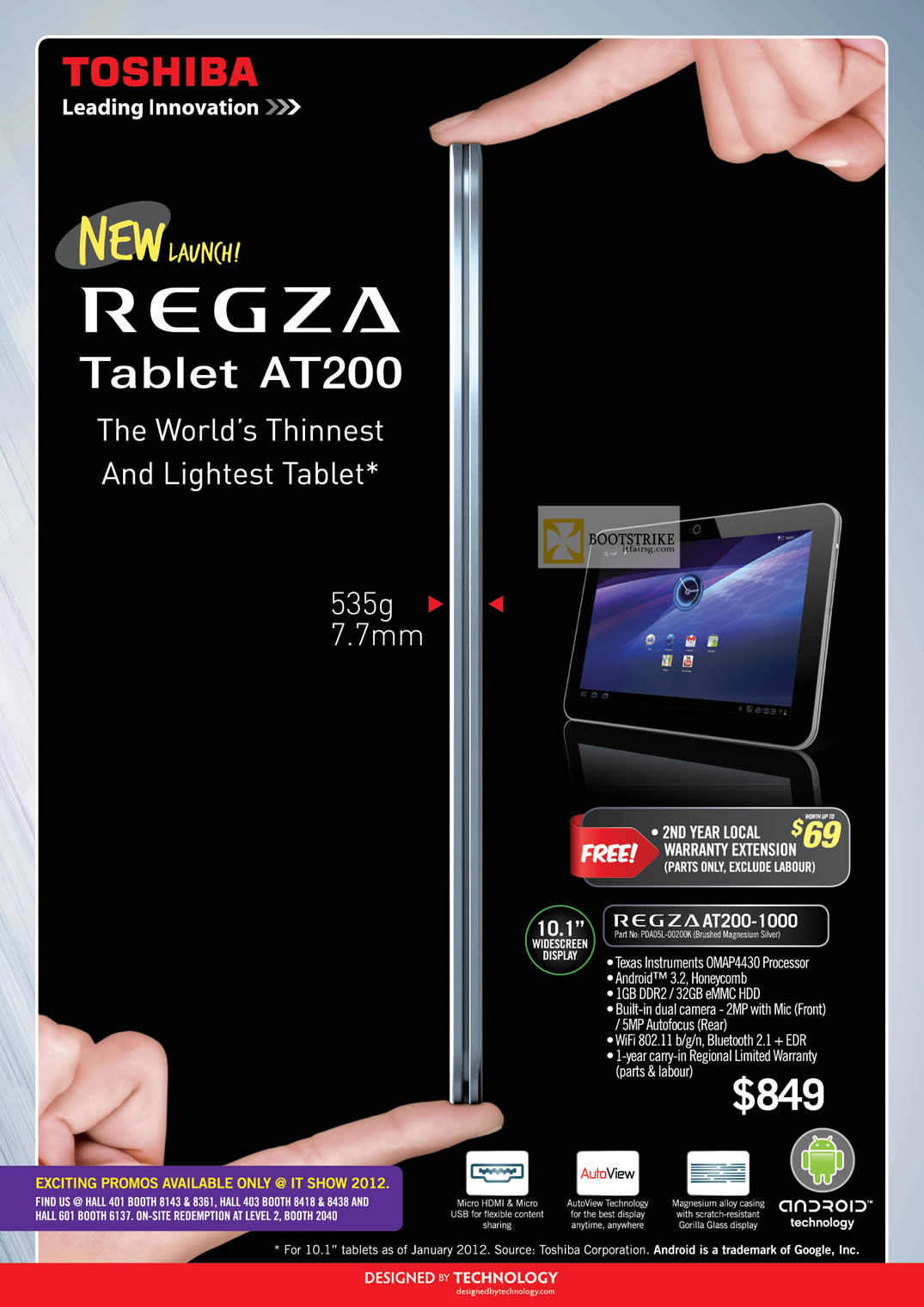 IT SHOW 2012 price list image brochure of Toshiba Tablet Regza AT200-1000 PDA05L-00200K
