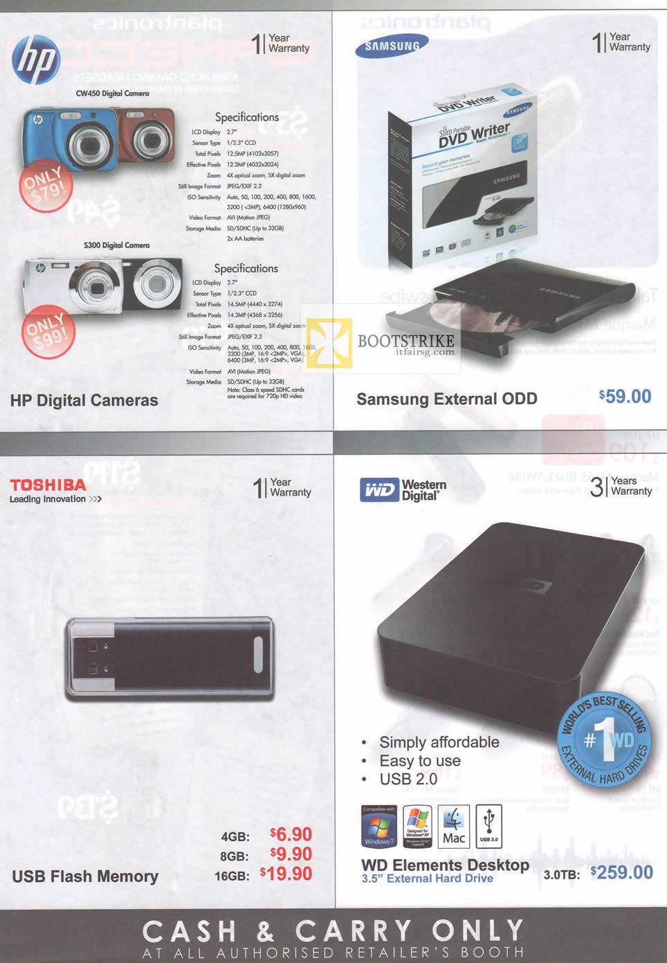 IT SHOW 2012 price list image brochure of Various HP CW450 Digital Camera, S300, Samsung External DVD Writer, Toshiba USB Flash Drive, WD Elements Desktop External Storage