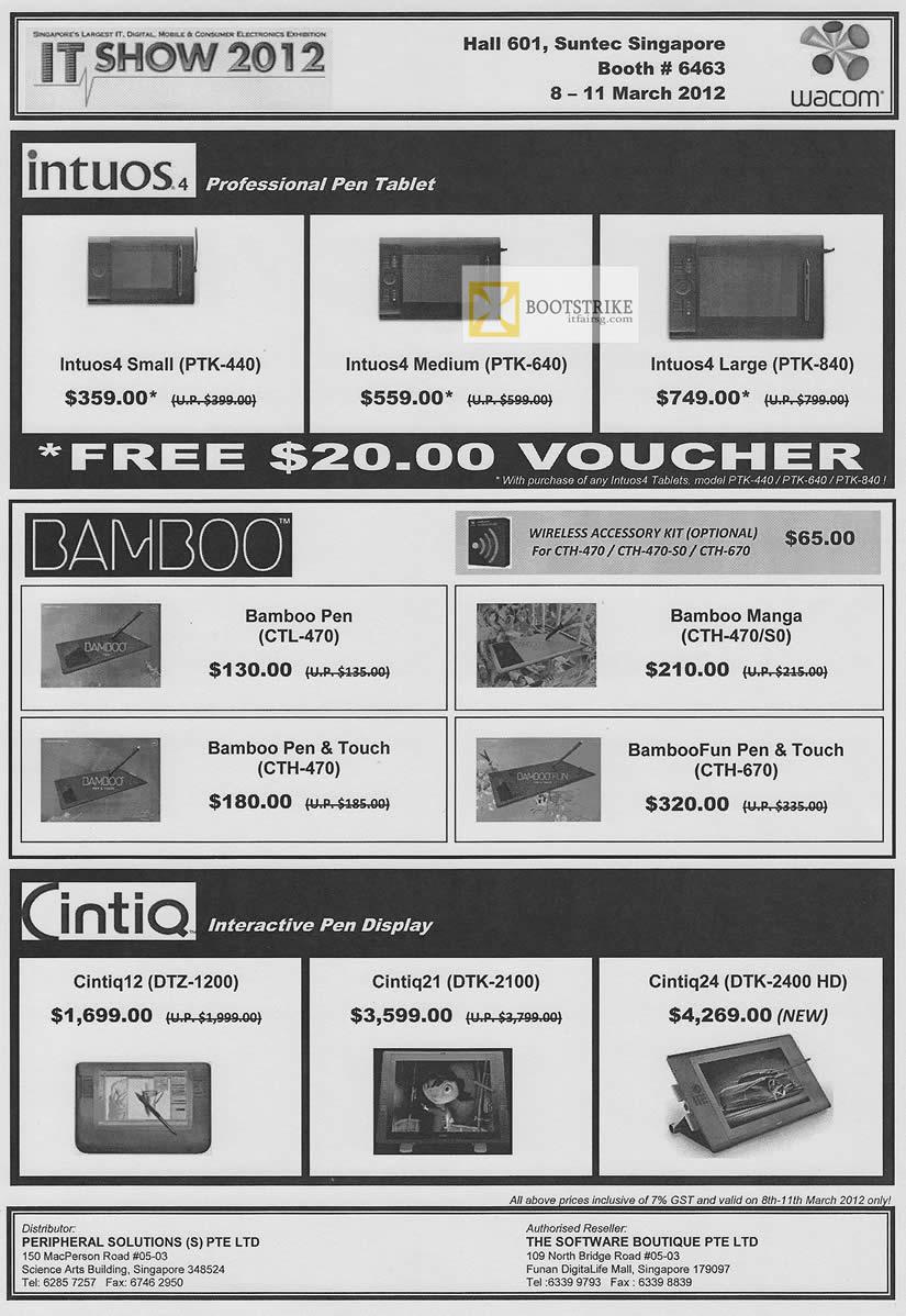 IT SHOW 2012 price list image brochure of Wacom Intuos 4 Pen Tablet, PTK-440, PTK-640, PTK-840, Bamboo Pen CTL-470, Manga CTH-470 S0, Cintiq12 DTZ-1200, Cintiq21 DTK-2100, Cintiq24 DTK-2400 HD