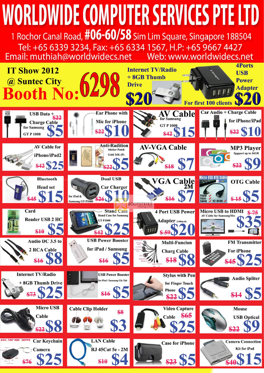 IT SHOW 2012 price list image brochure of Worldwide Computer Accessories MP3 Player, HDMI, FM Transmitter, USB TV Radio, Keychain Camera, LAN Cable, Mouse, Splitter, Video Capture