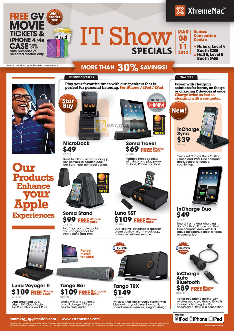 IT SHOW 2012 price list image brochure of XtremeMac IPhone Docking Speakers MicroDock, Soma Travel, InCharge Sync Charger, Tango Bar, TRX, Blutooth, Luna Voyager II, SST