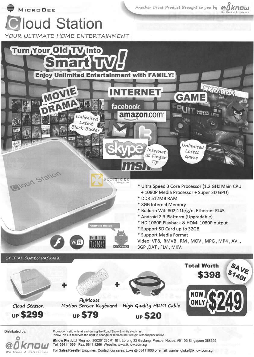 IKnow Microbee Cloud Station Media Player, FlyMouse Motion