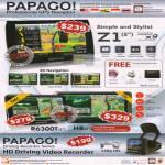 Papago GPS Navigator Z1, R6300T, H8, Driving Video Recorder