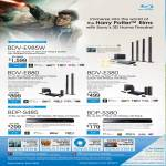 Sony Blu-Ray 3D Home Theatre System BDV-E985W, BDV-E880, BDV-E380, Blu Ray Player BDP-S485, BDP-S380