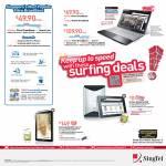 Singtel Broadband Fibre 100Mbps, ADSL Acer Aspire V3 Notebook, Samsung Galaxy Tab 7.7, Huawei Mediapad