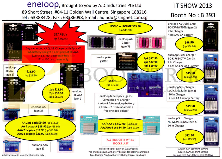 IT SHOW 2013 price list image brochure of A.D. Industries Eneloop XX AA Batteries AAA, Glitter, Family Pack, Quick Charger, Standard Charger