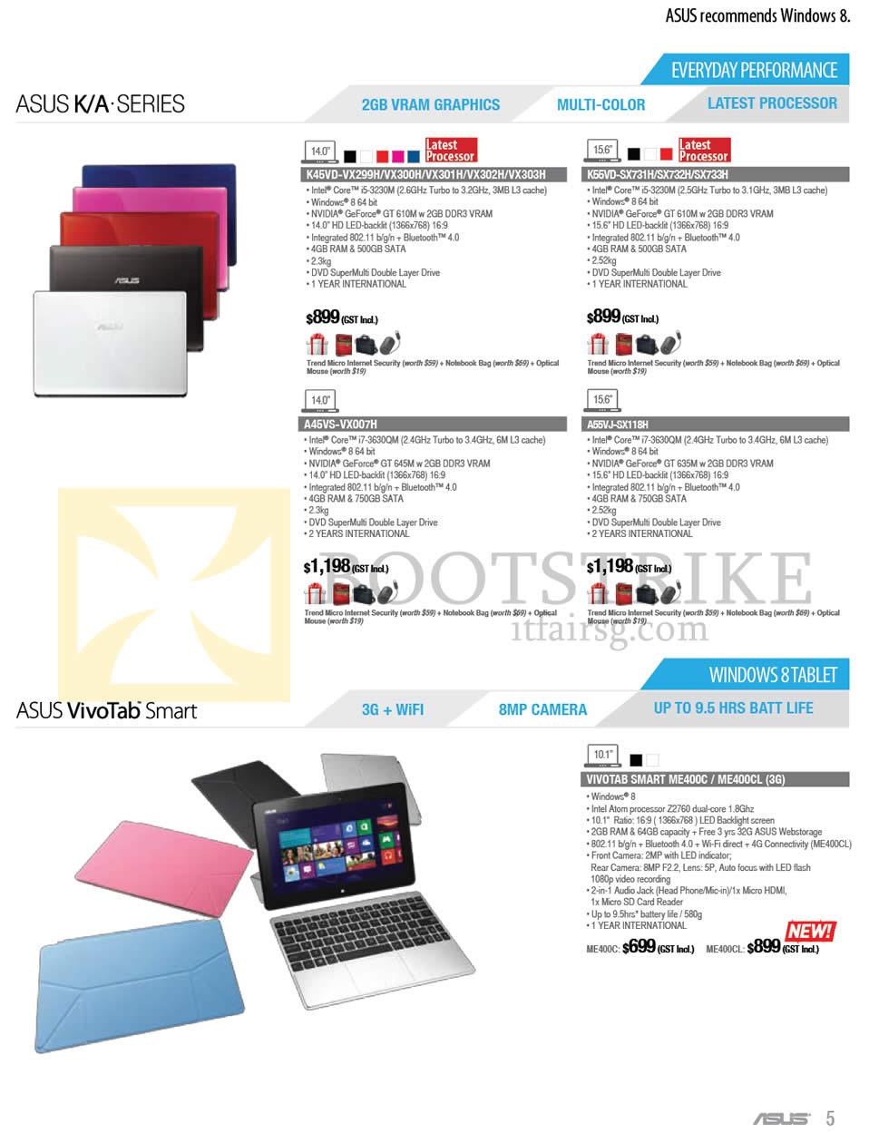 IT SHOW 2013 price list image brochure of ASUS Notebooks K45VD-VX299H VX300H VX301H VX302H VX303H, K55VD-SX731H SX732H SX733H, A45VS-VX007H, A55VJ-SX118H, Tablet VivoTab Smart ME400C ME400CL 3G