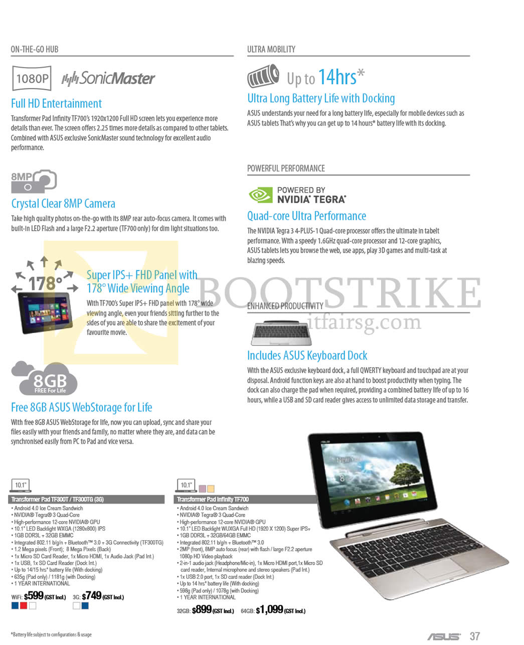 IT SHOW 2013 price list image brochure of ASUS Notebooks Tablet Transformer Pad TF300T TF300TG (3G), Transformer Pad Infinity TF700