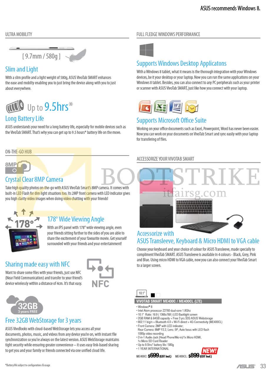 IT SHOW 2013 price list image brochure of ASUS Notebooks Vivotab Features, Vivotab SMART ME400C ME400CL (LTE)