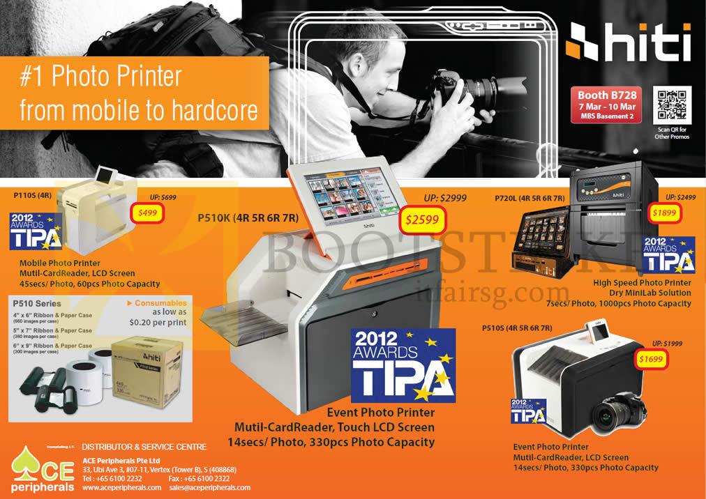 IT SHOW 2013 price list image brochure of Ace Peripherals HiTi Photo Printer P110S S420i P720L P510S P510K