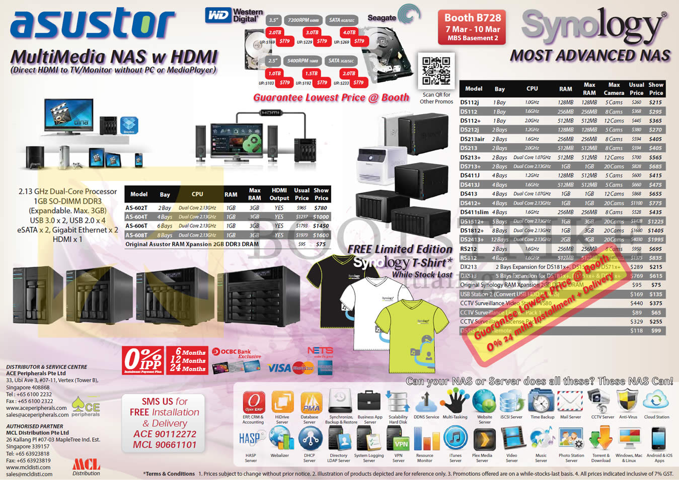IT SHOW 2013 price list image brochure of Ace Peripherals MCL Asustor Synology NAS, Seagate WD Internal HDD