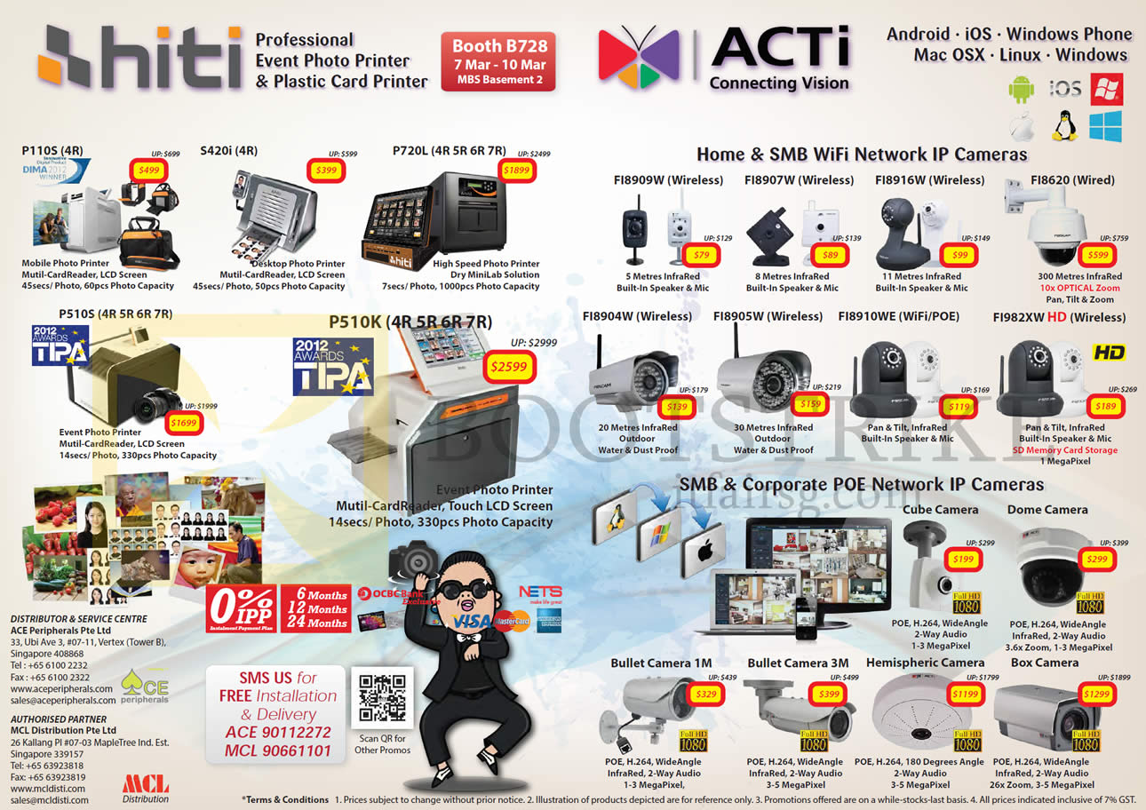 IT SHOW 2013 price list image brochure of Ace Peripherals MCL HiTi Mobile Desktop Kiosk Photo Printers P110S, S420i, P720L, P5105, P510K, ACTi IPCam
