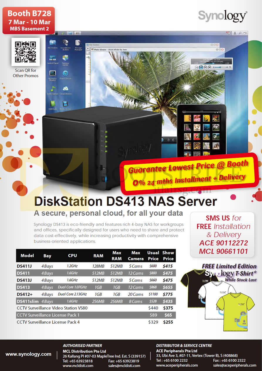 IT SHOW 2013 price list image brochure of Ace Peripherals MCL Synology DiskStation DS411J DS411 DS413J DS413 DS412 Plus DS411slim VS240HD VS80