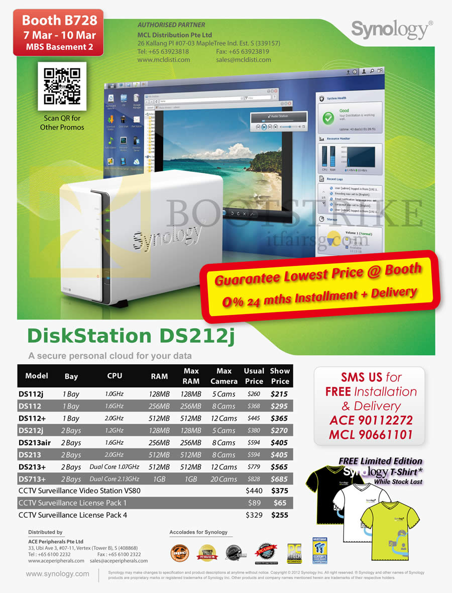 IT SHOW 2013 price list image brochure of Ace Peripherals MCL Synology NAS DiskStation DS112J DS112 DS112 Plus DS212J DS213air DS213 Plus DS213 DS713PLUS, CCTV VS80