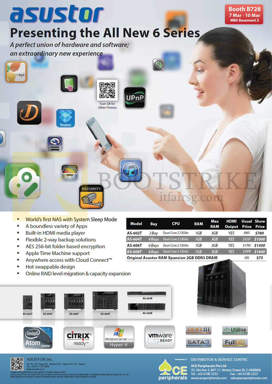 IT SHOW 2013 price list image brochure of Ace Peripherals Media Player NAS Asustor AS-602T AS-604T AS-606T AS-608T AS-604RS AS-609RS