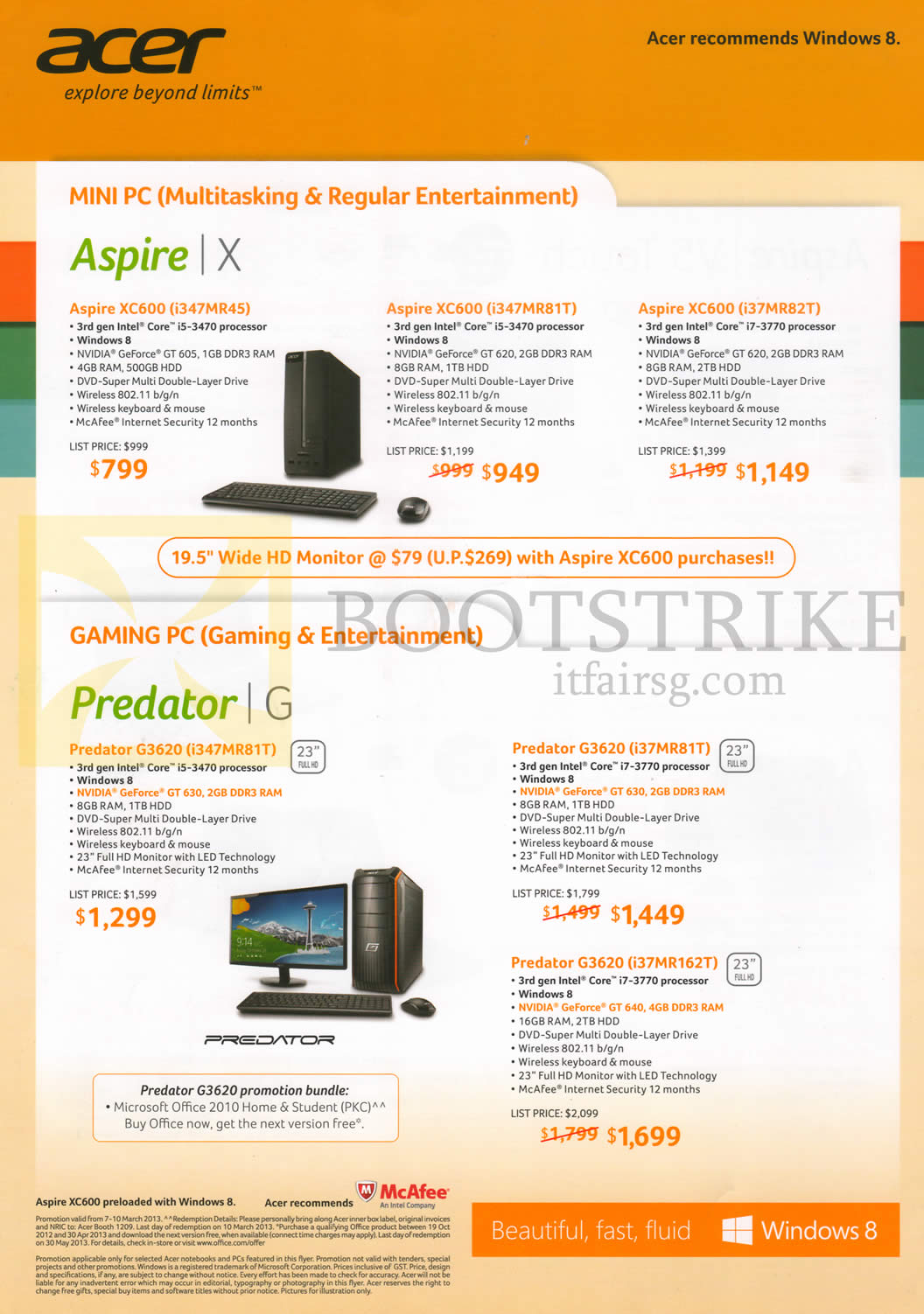IT SHOW 2013 price list image brochure of Acer Desktop PCs, Monitors, Aspire X XC600 I347MR45, I347MR81T, I37MR82T, H226HQL, T232HL, G276HL, Predator Gaming PCs G3620 I347MR81T, I37MR81T, I37MR162T