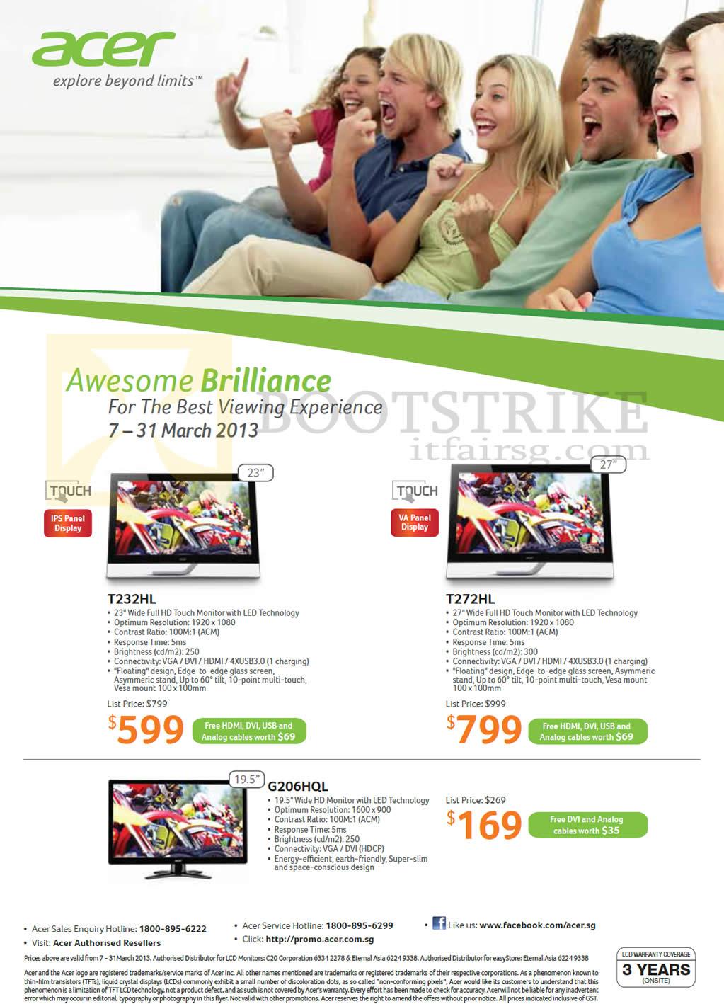 IT SHOW 2013 price list image brochure of Acer Monitors LED T232HL, T272HL, G206HQL