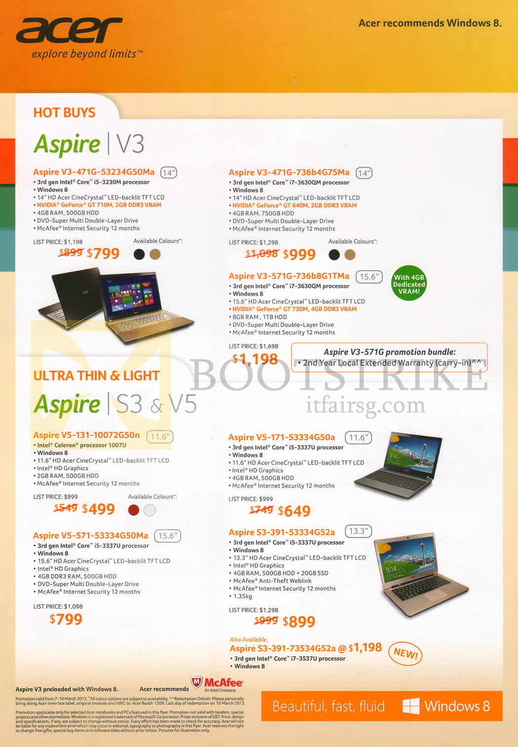 IT SHOW 2013 price list image brochure of Acer Notebooks Aspire V3-471G-53234G50Ma, 736b4G75Ma, V3-571G-736b8G1TMa, Aspire V5-131-10072G50n, V5-571-53334G50Ma, V5-171-53334G50a, S3-391-53334G52a