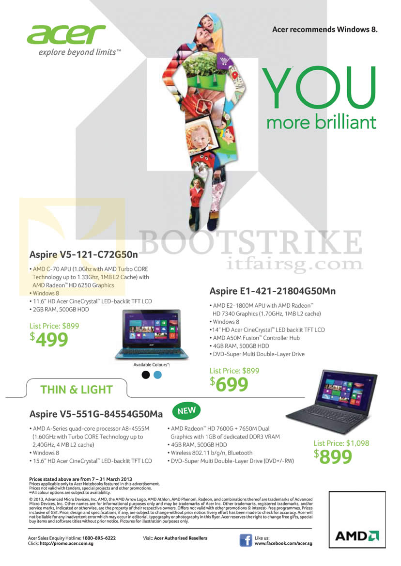 IT SHOW 2013 price list image brochure of Acer Notebooks Aspire V5-121-C72G50n, E1-421-21804G50Mn, V5-551G-84554G50Ma
