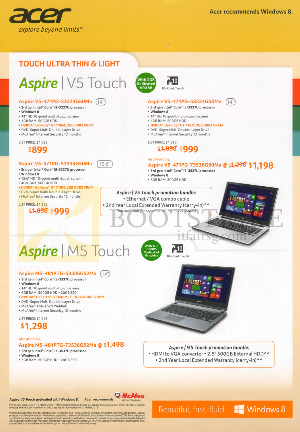 IT SHOW 2013 price list image brochure of Acer Notebooks Aspire V5-471PG-33224G50Ma, 53334G50Ma, 73538G50Ma, V5-571PG-53334G50Ma, M5-481PTG-53336G52Ma, 73536G52Ma