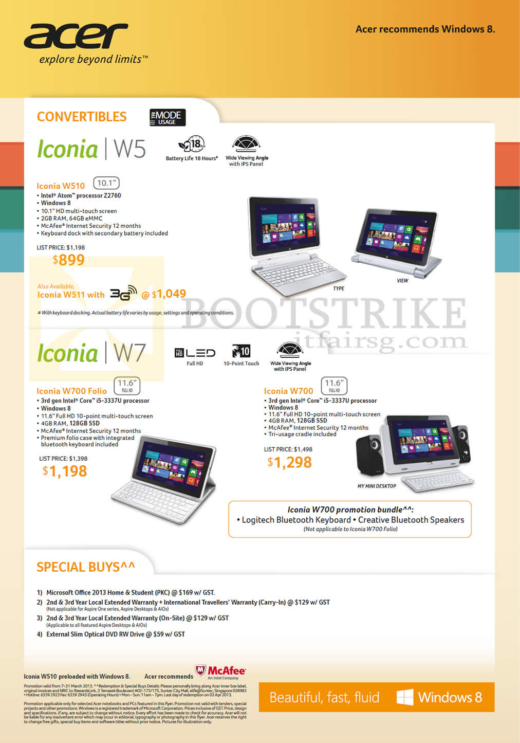 IT SHOW 2013 price list image brochure of Acer Tablets Iconia Convertibles Iconia W510, W700 Folio, W700