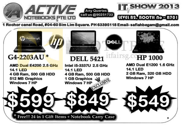 IT SHOW 2013 price list image brochure of Active Notebooks HP G4-2203AU, Dell 1521, HP 1000
