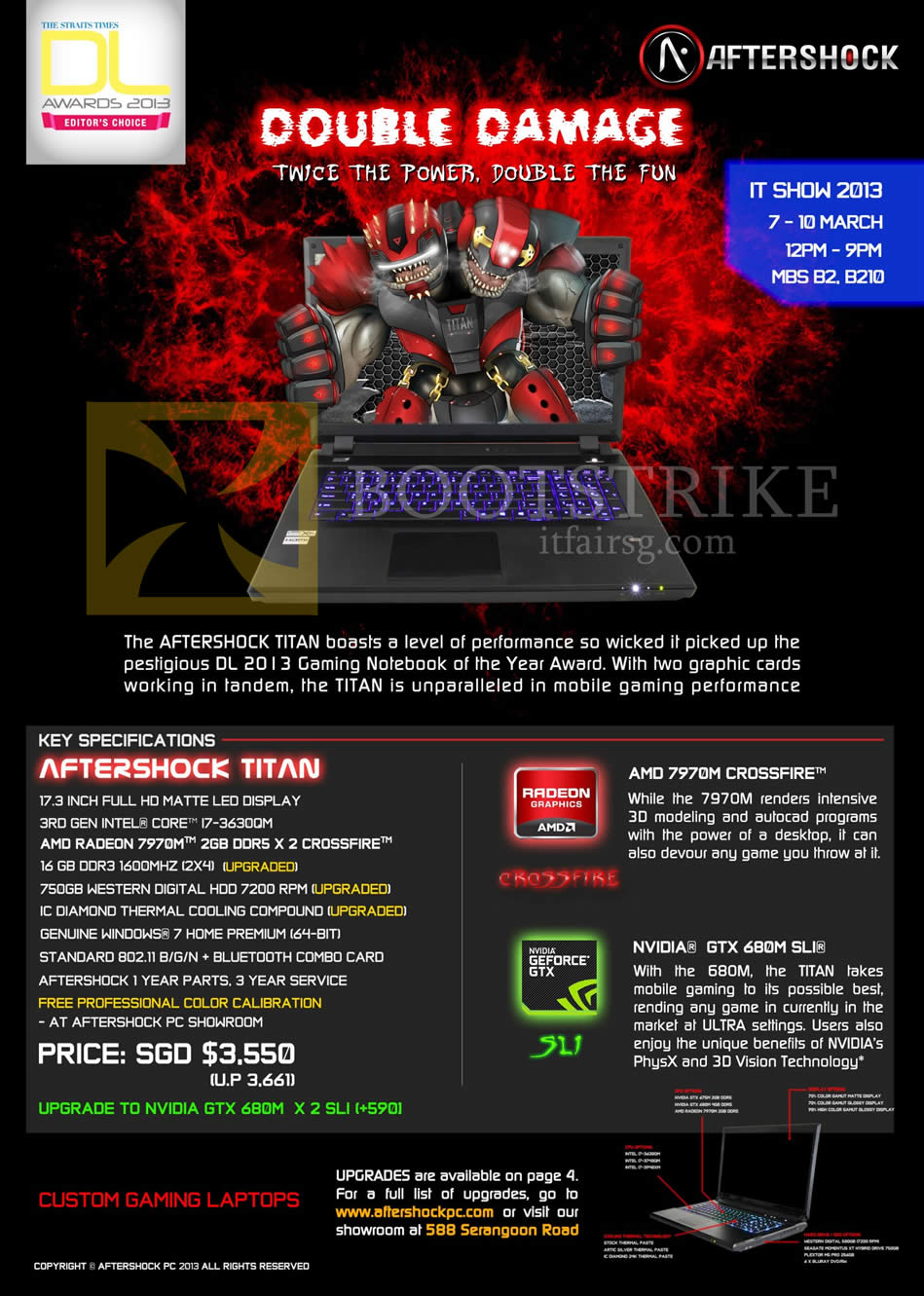 IT SHOW 2013 price list image brochure of Aftershock Titan Gaming Notebook