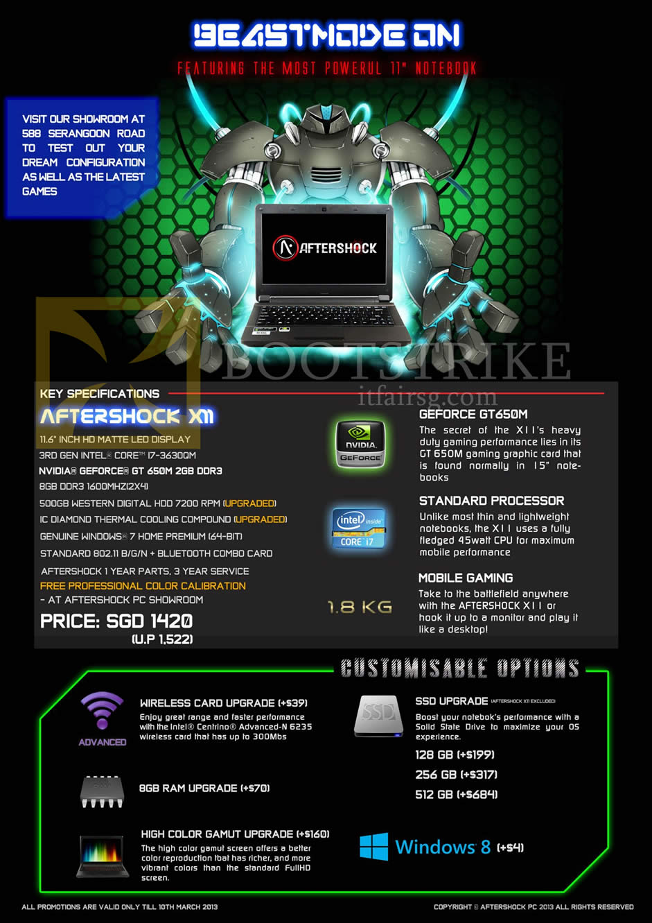 IT SHOW 2013 price list image brochure of Aftershock X11 Gaming Notebook, Upgrades, Options