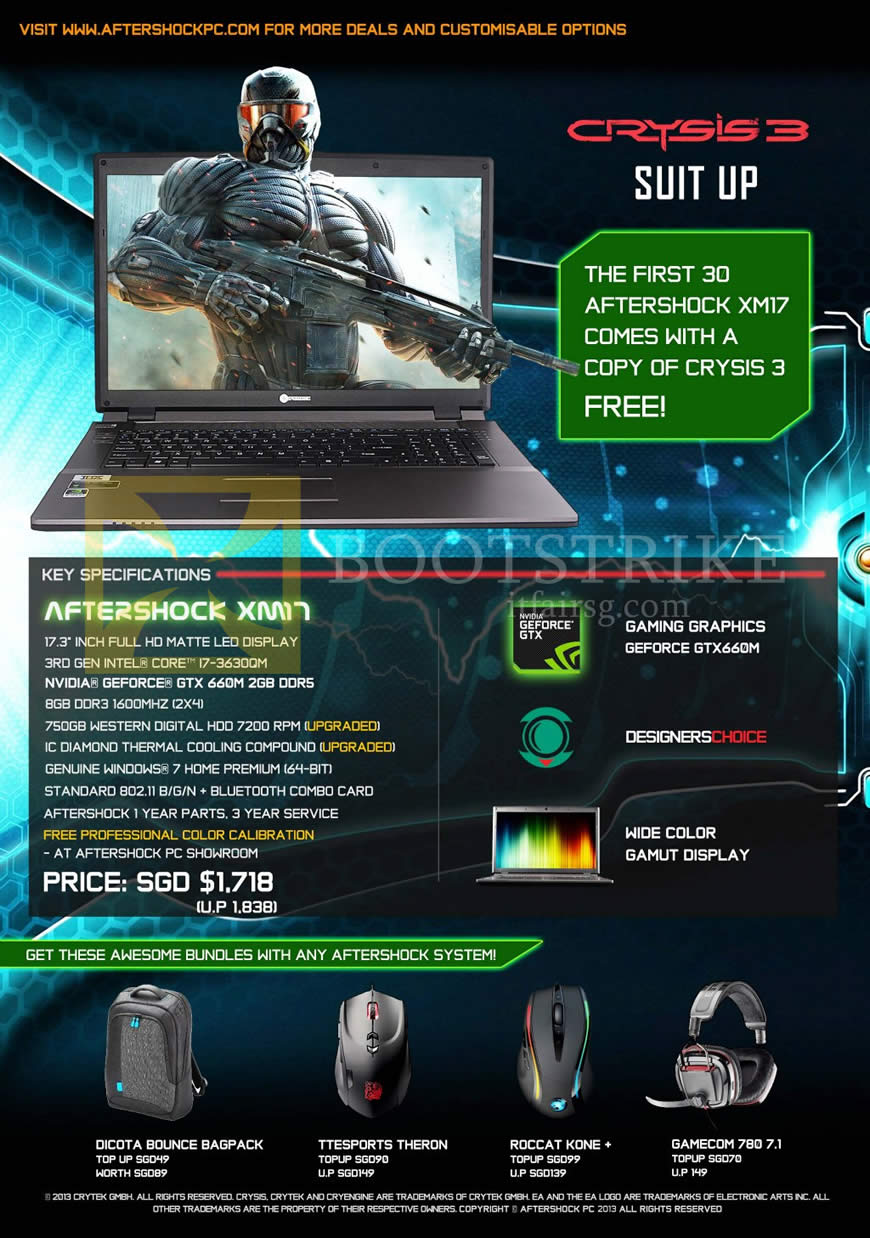 IT SHOW 2013 price list image brochure of Aftershock XM17 Gaming Notebook, Purchase With Purchase Options