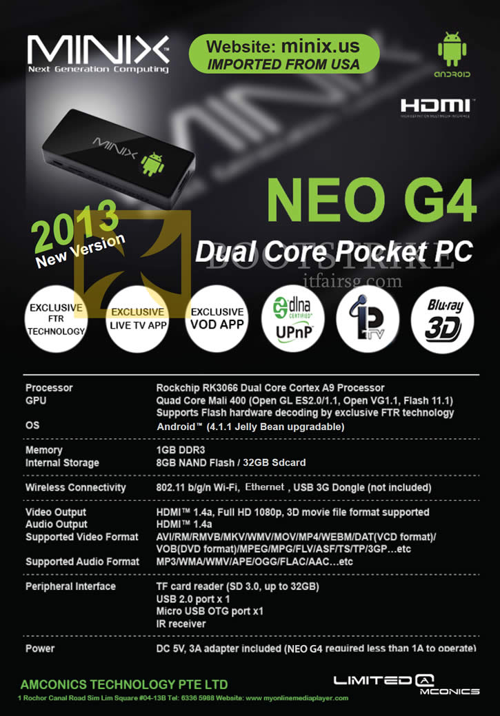 IT SHOW 2013 price list image brochure of Amconics Minix Neo G4 Android Pocket PC Specifications