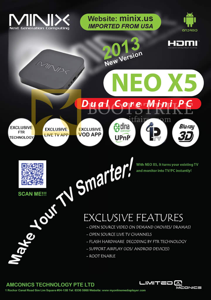 IT SHOW 2013 price list image brochure of Amconics Minix Neo X5 Android Mini PC Features