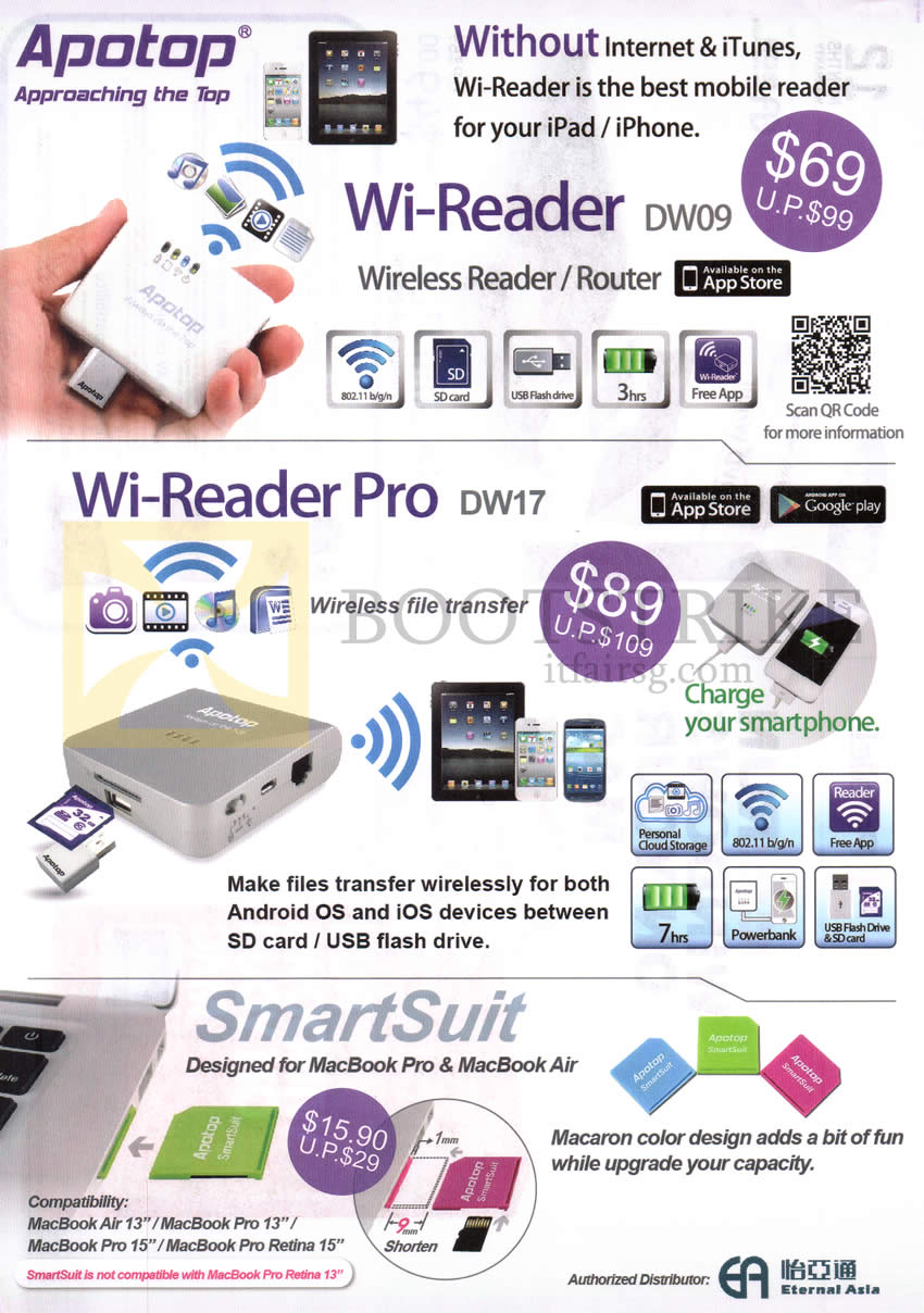 IT SHOW 2013 price list image brochure of Apotop Wi-Reader DW09, Wi-Reader Pro DW17, SmartSuit