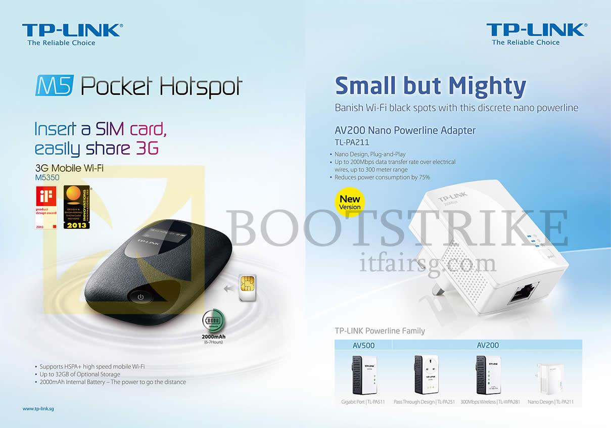 IT SHOW 2013 price list image brochure of Asia Radio TP-Link M5 Pocket Hotspot 3G Mobile Wi-Fi M5350, AV200 Nano Powerline Adapter TL-PA211