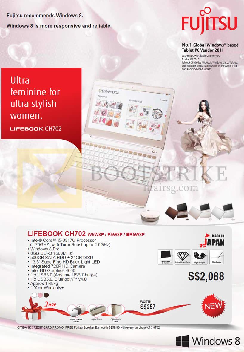 IT SHOW 2013 price list image brochure of Asiapac Fujitsu Notebooks Lifebook CH702 W5W8P P5W8P BR5W8P