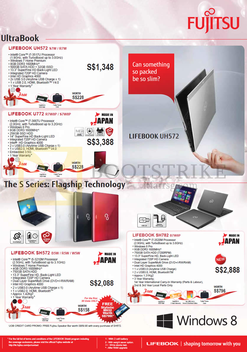 IT SHOW 2013 price list image brochure of Asiapac Fujitsu Notebooks Lifebook UH572 S7W R7W, U772 R7W8P S7W8P, SH57W B5W R5W W5W, SH782 B7W8P