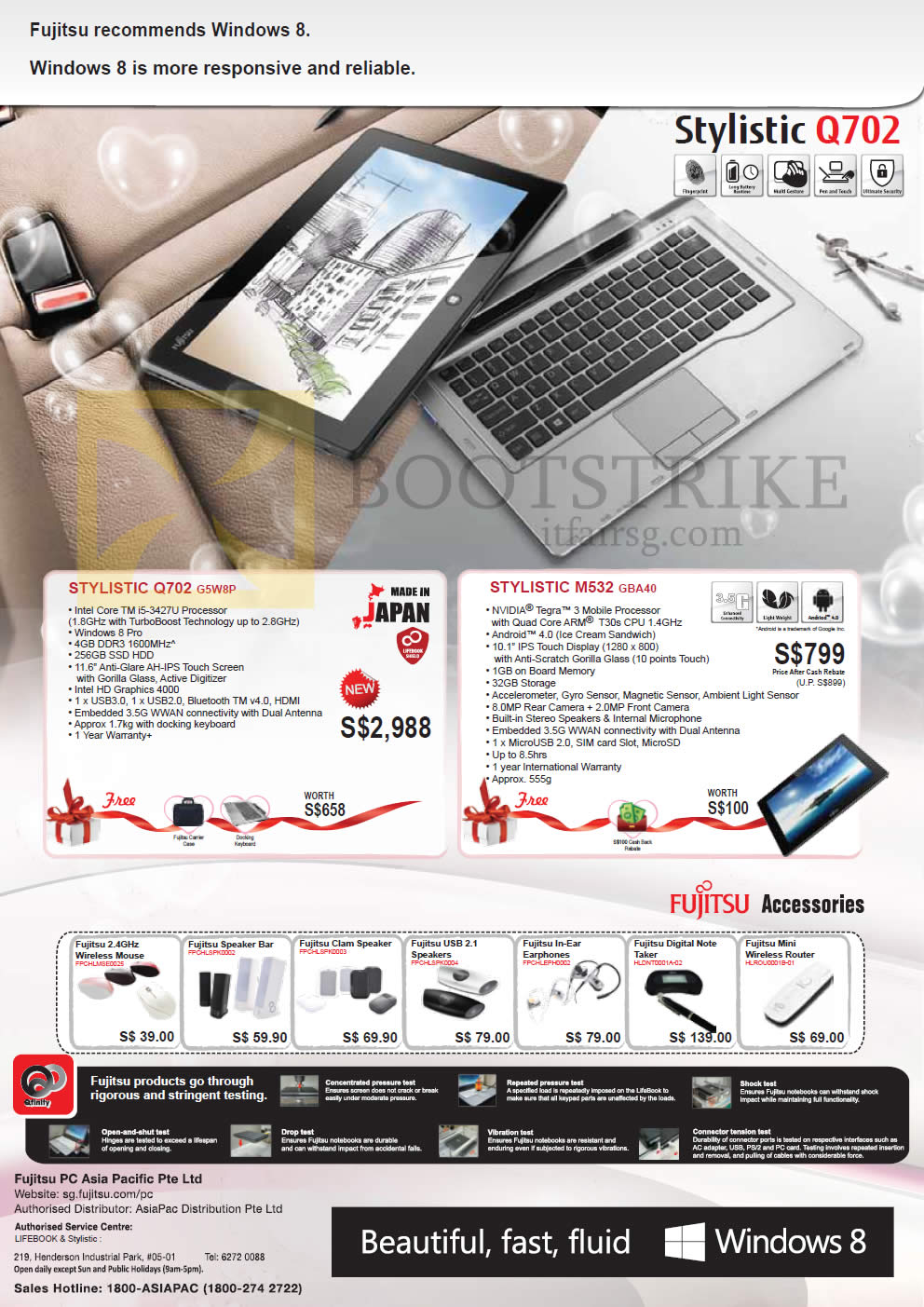 IT SHOW 2013 price list image brochure of Asiapac Fujitsu Tablets Stylistic Q702 G5W8P, M532 GBA40, Accessories