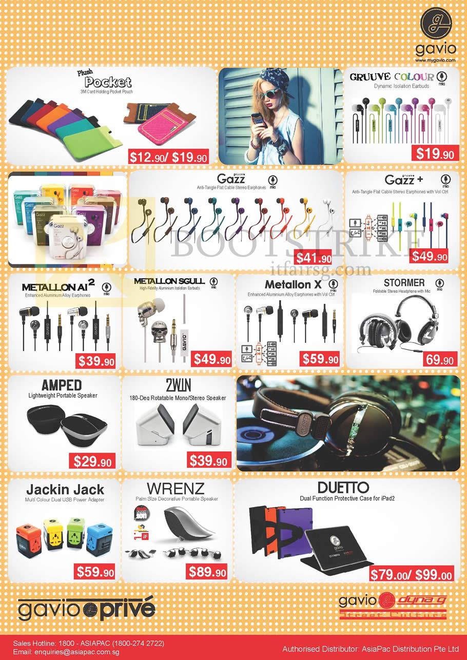 IT SHOW 2013 price list image brochure of Asiapac Gavio Accessories Plush Pocke, Gruuve Colour Earphones, Gazz, Plus, Metallon AI2, Sgull, X, Stormer, Amped, 2win Speakers, Wrenz, Duetto Case, Jackin Jack