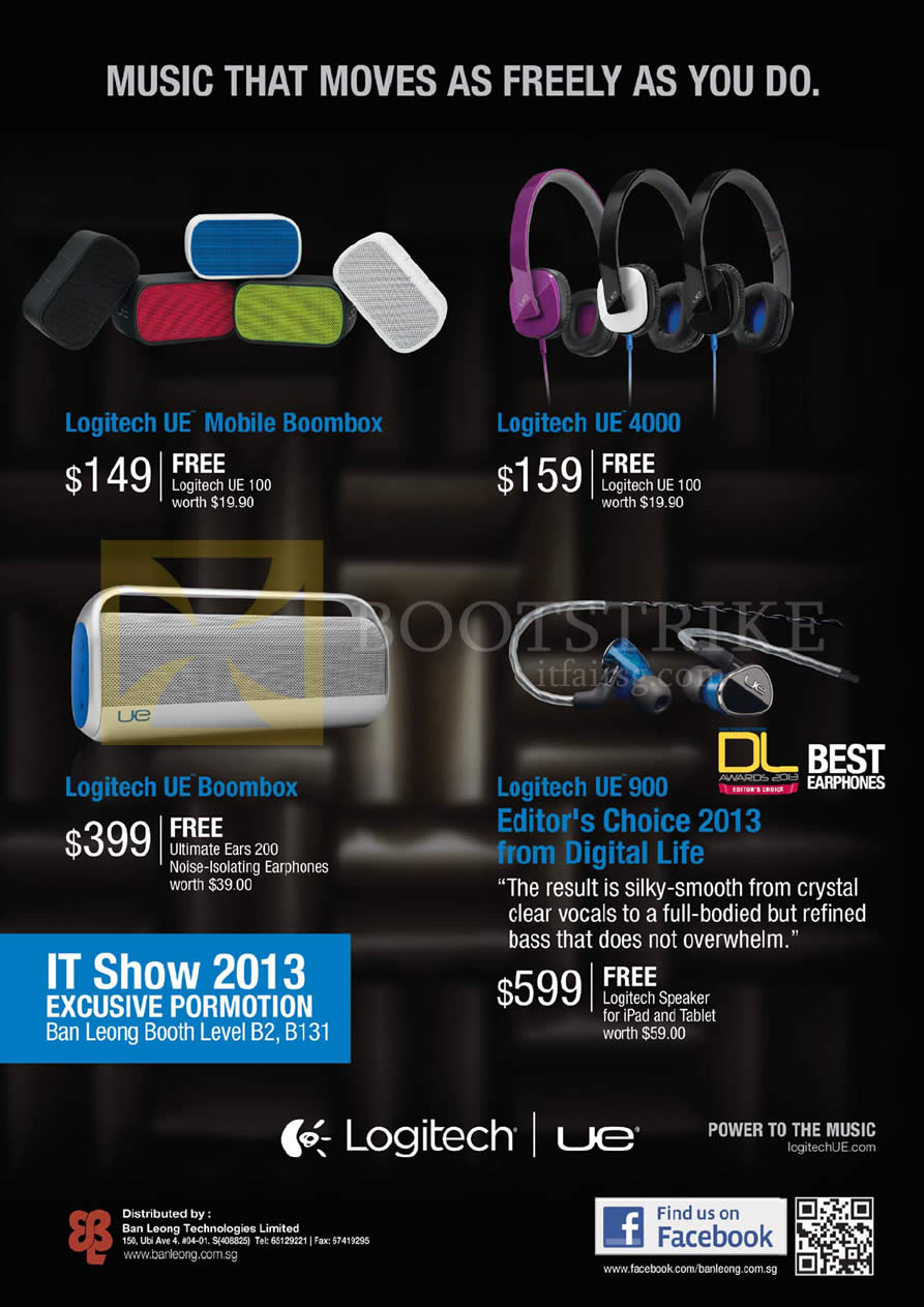 IT SHOW 2013 price list image brochure of Ban Leong Logitech Ultimate Ears UE Mobile Boombox, UE 4000, UE Boombox, UE 900