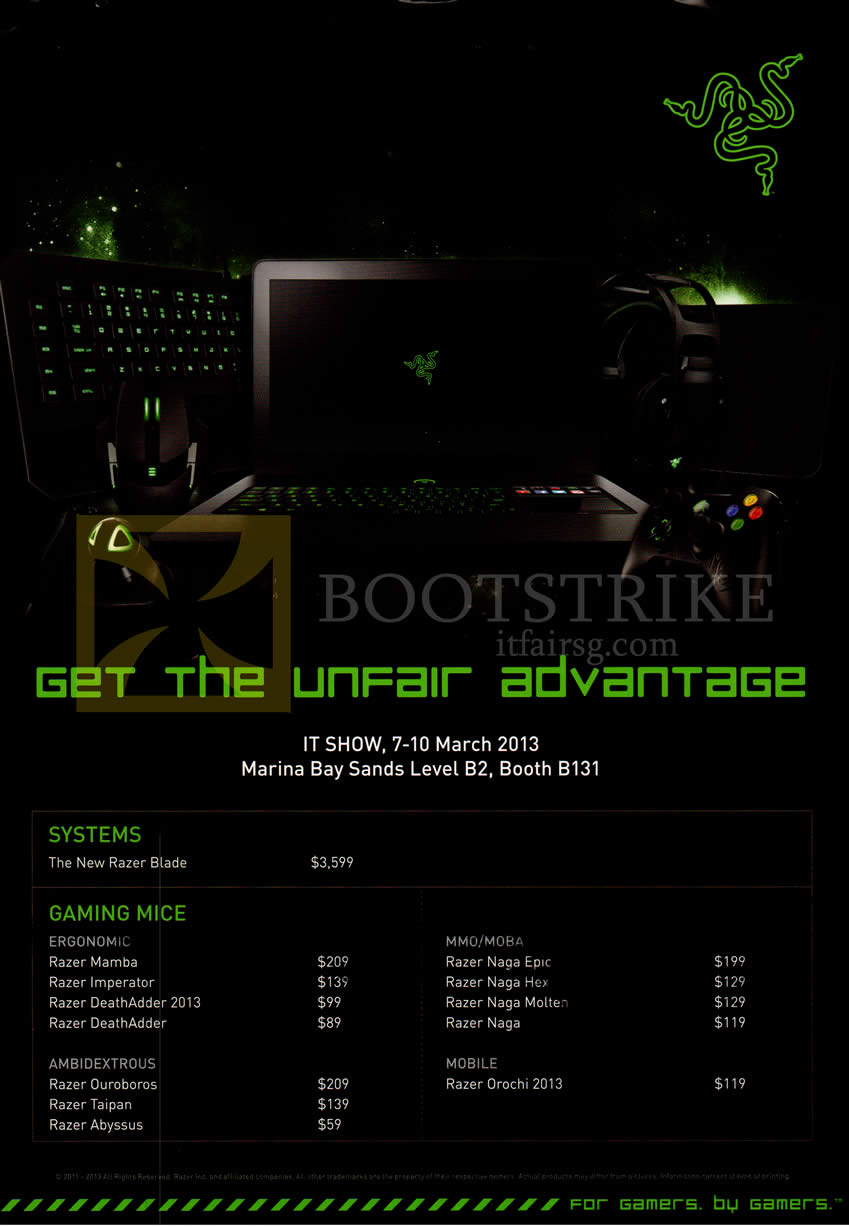 IT SHOW 2013 price list image brochure of Ban Leong Razer Blade System, Gaming Mouse Mamba Imperator DeathAdder 2013, Ambidextrous Ouroboros Taipan Abyssus, Naga Epic Hex Molten, Orochi 2013