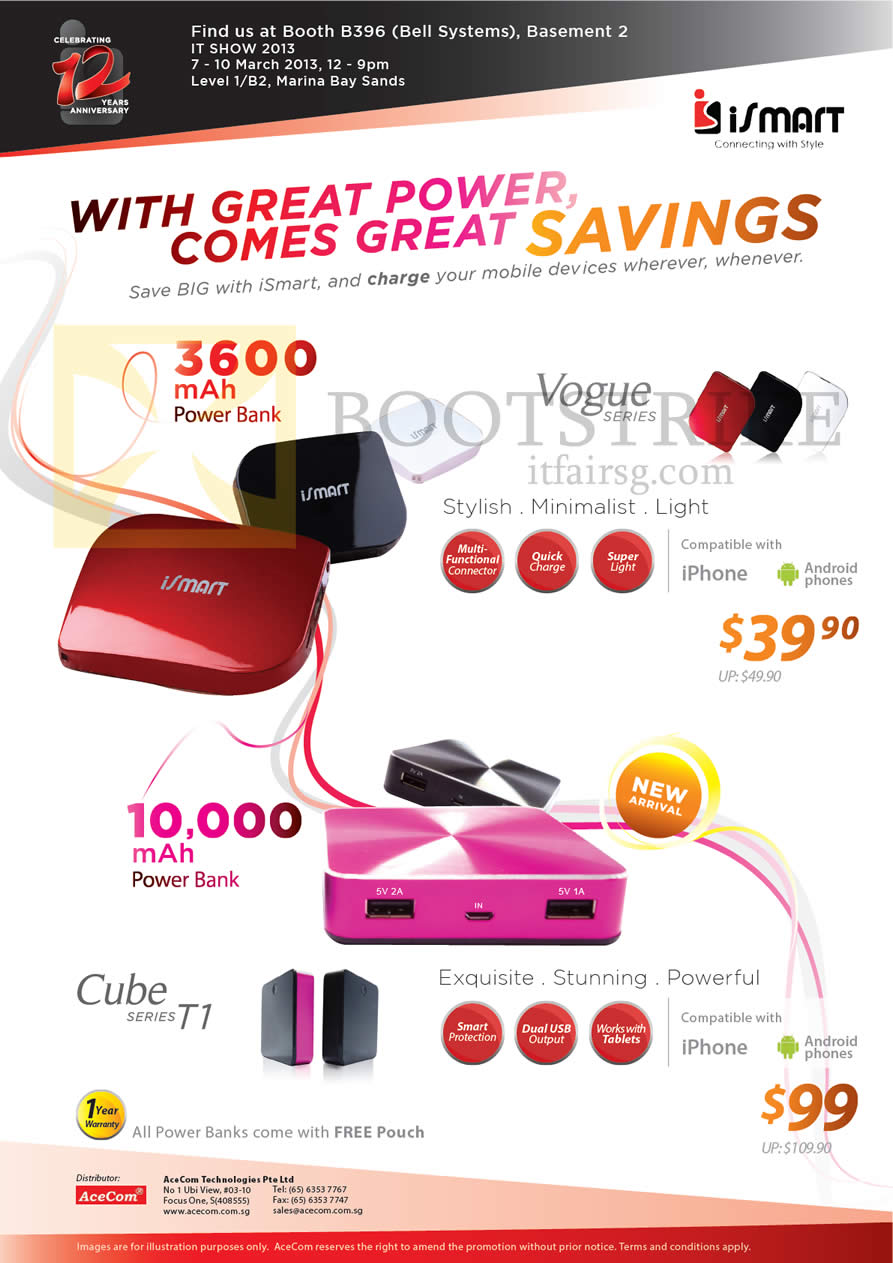 IT SHOW 2013 price list image brochure of Bell Systems ISmart Portable Chargers Power Bank Vogue, Cube Series T1