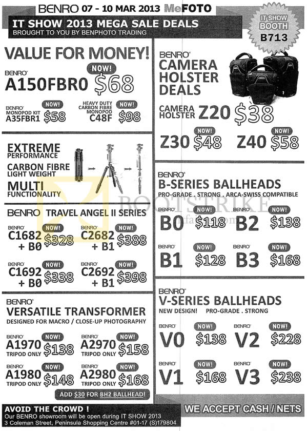 IT SHOW 2013 price list image brochure of Ben Photo Benro MeFoto Tripod, Holster, Carbon Fibre, B Series B0 B1 B2 B3 Ballheads, Versatile Transformer, V-Series Ballheads V0 V1 V2 V3