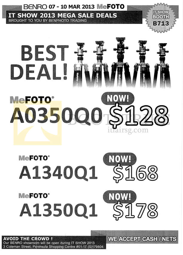 IT SHOW 2013 price list image brochure of Ben Photo MeFoto Tripods A0350Q0, A1340Q1, A1350Q1