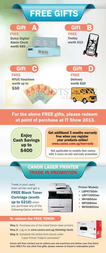 IT SHOW 2013 price list image brochure of Canon Printers Free Gifts Dolce Digital Alarm Clock, Trolley, NTUC Vouchers, Delivery