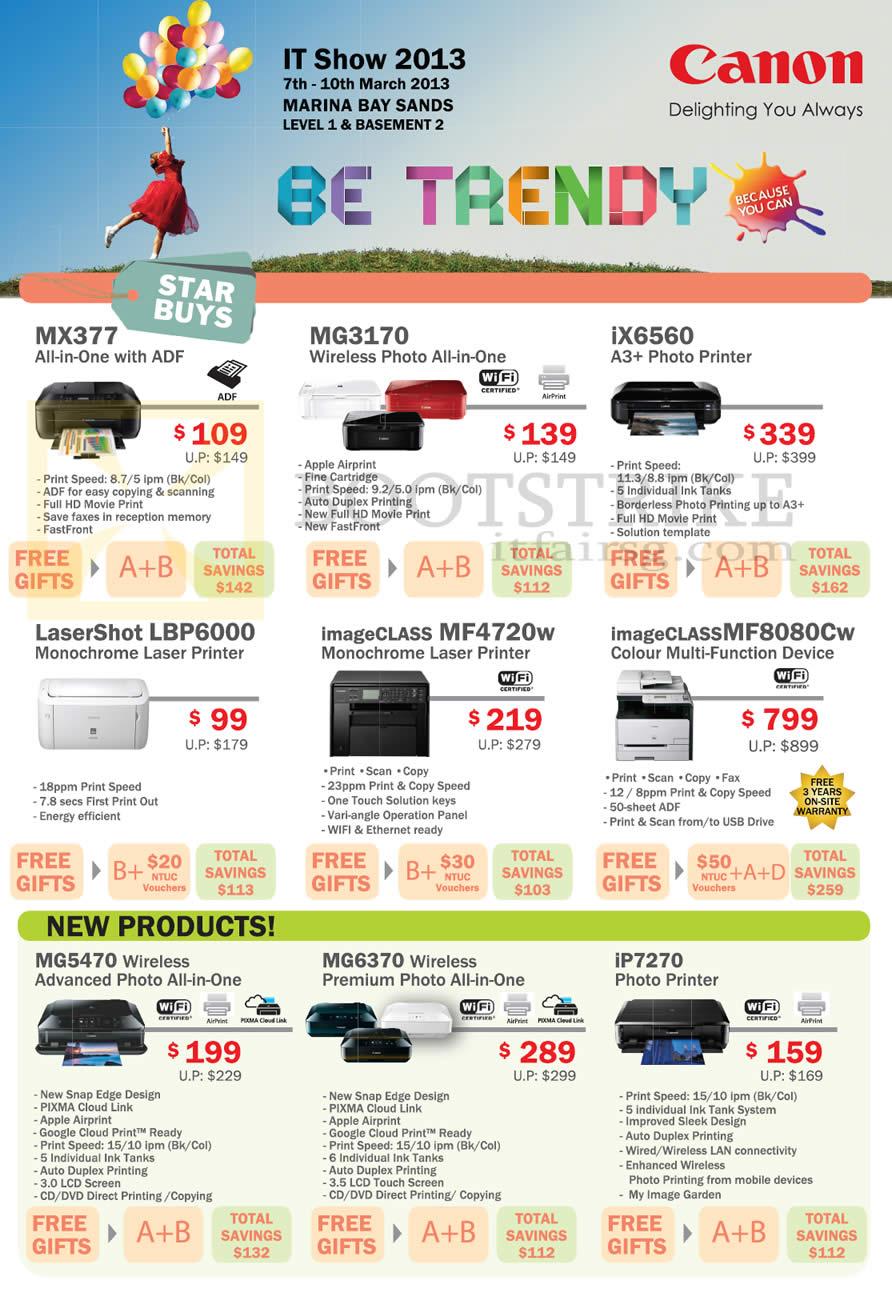 IT SHOW 2013 price list image brochure of Canon Printers Inkjet Laser MX377, MG3170, IX6560, IP7270, MG6370, MG5470, LBP6000, MF4720w, MF8080Cw
