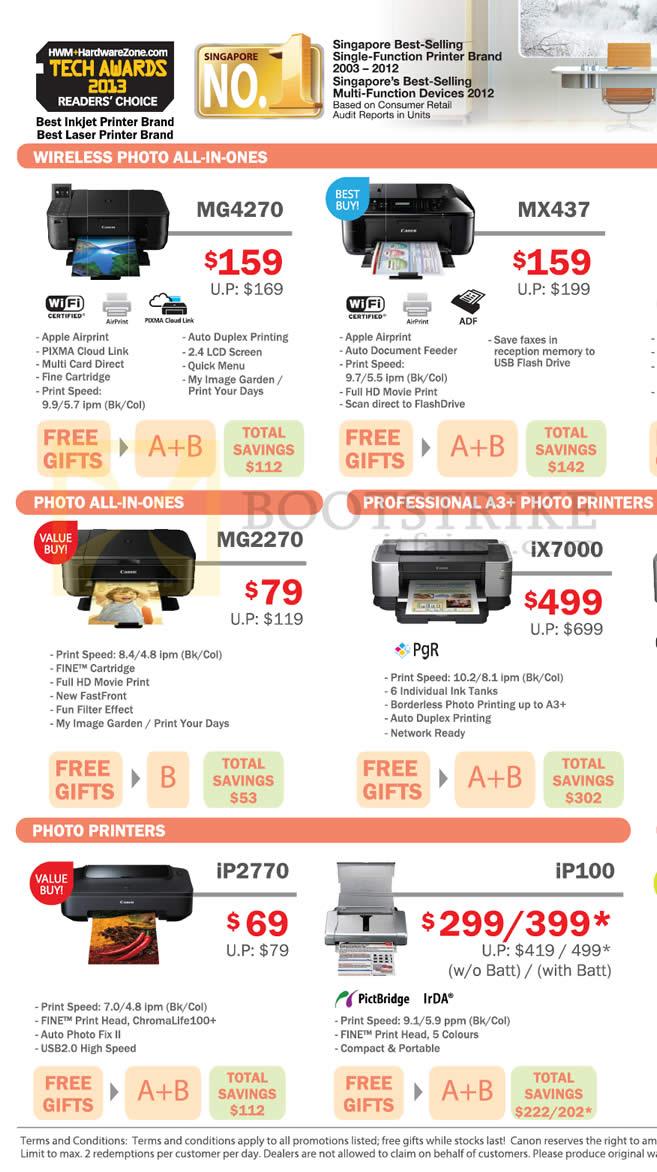IT SHOW 2013 price list image brochure of Canon Printers Inkjet, MG4270, MX437, MG2270, IX7000, IP2770, IP100