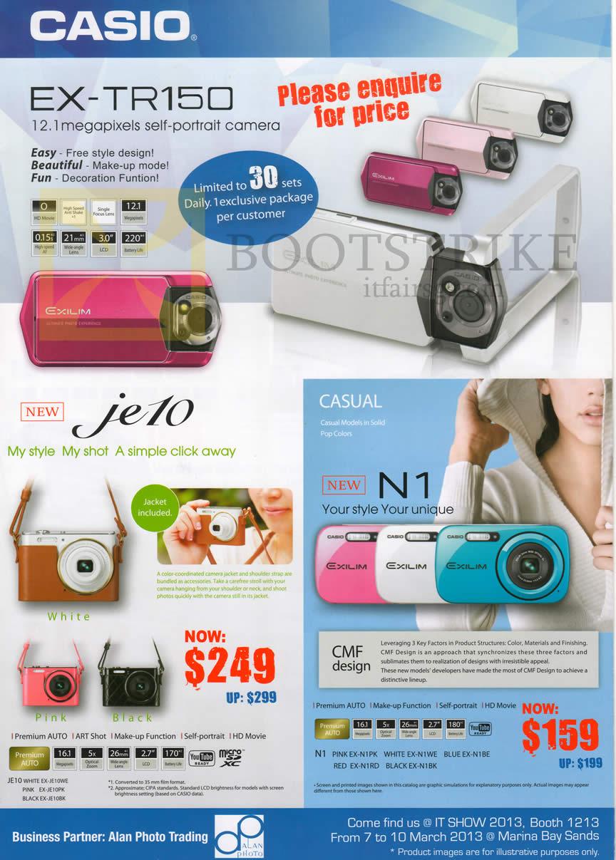 IT SHOW 2013 price list image brochure of Casio Alan Photo Digital Cameras Exilim EX-TR150, JE10, N1