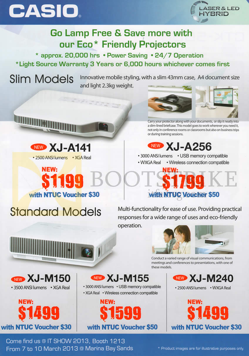 IT SHOW 2013 price list image brochure of Casio Projectors XJ-A141, XJ-A256, XJ-M150, XJ-M155, XJ-M240