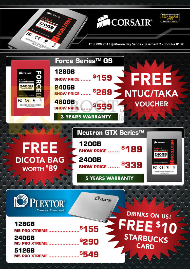 IT SHOW 2013 price list image brochure of Convergent Corsair SSD Force Series, Neutrox GTX, Plextor M5 Pro Xtreme